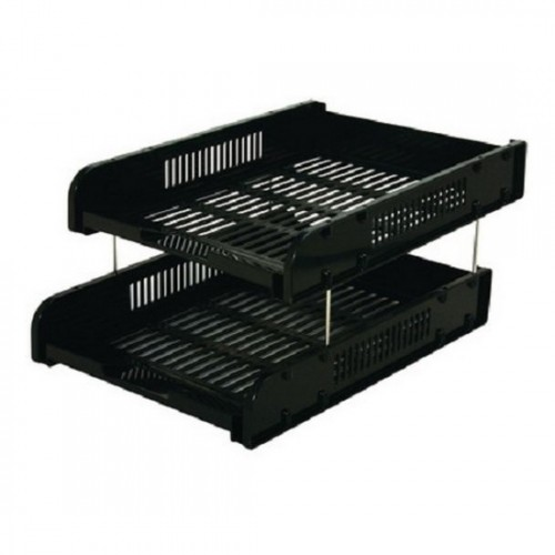 2-Tier Paper Tray with Metal Risers