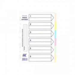 Paper Divider Colour 6-tab (10s)