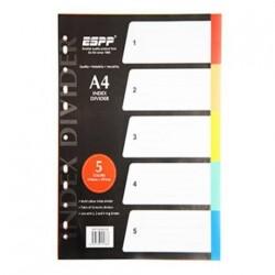 PP Plastic Colour Divider 5 tab