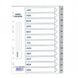 PP Plastic Grey Divider Jan-Dec