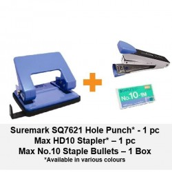[Bundle] Paper Punch + Max HD10 Stapler + Max No.10 Staple Bullets