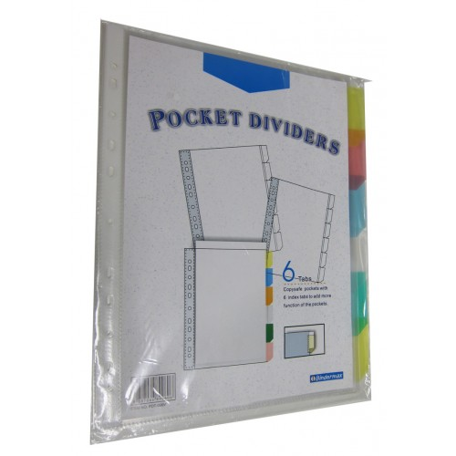 Bindermax 6 tab Pocket Dividers