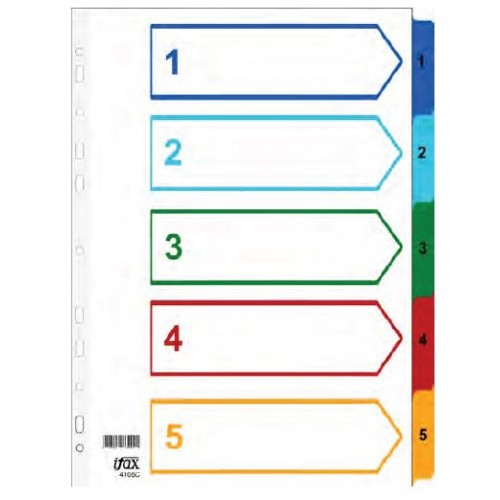 PP Colour Index Divider 1-5 (Tab with No)