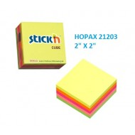 Hopax 21203 Stickn Neon Cube 2x2 inches