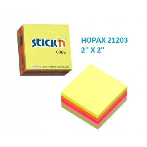 Hopax 21203 Stickn Neon Cube 2x2 inches