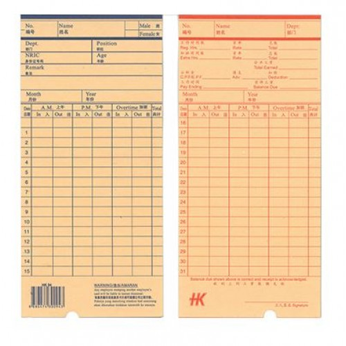 Hk Time Cards 50'S with C Hole