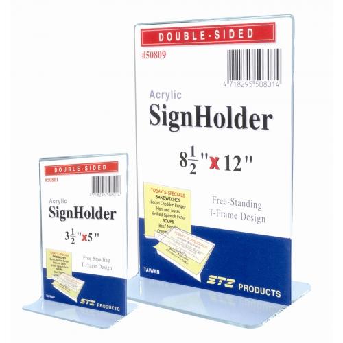 Stz Acrylic T-Shape Sign Holder (V)