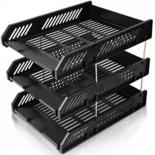 3-Tier Paper Tray with Metal Risers