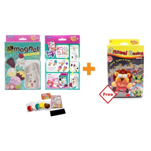 Kiddy Plasticine Clay 3D Magnet + FOC Animal Racing Set
