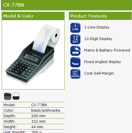 Citizen CX-77BN Printing Calculator Product Features