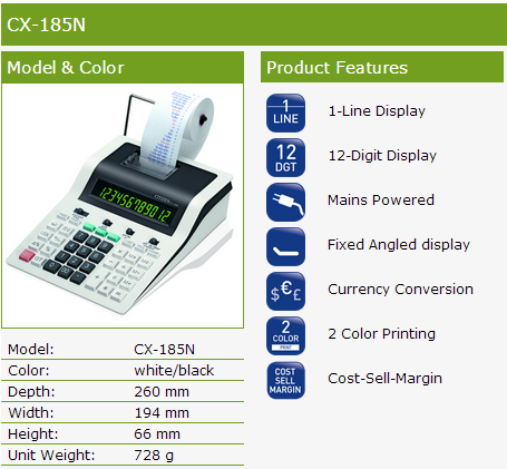 Citizen CX185N Printer Calculator Product Features