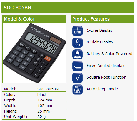 Citizen SDC805BN 8-Digit Calculator Product Features