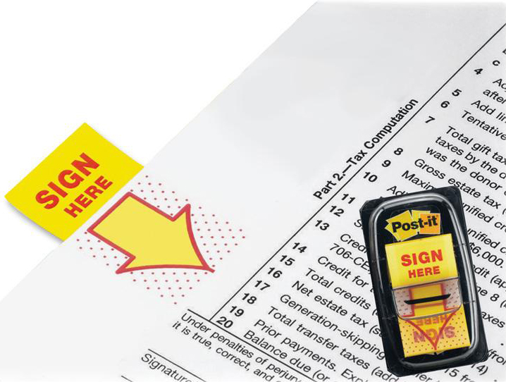 3M Post-it 680-9 Sign Here Tape Flags